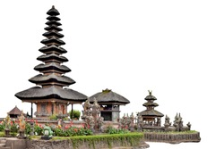 Pura Ulun Danu Beratan (or Pura Bratan) isolated on white background. It is a temple on Bali, Indonesia.