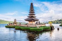 Pura Ulun Danu Bratan, Bali. Hindu temple on Bratan lake. Major Shivaite and water temple of Bali island, Indonesia. Hindu temple - traditional pagoda photography - travel Bali, explore Indonesia