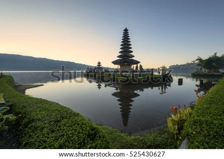 Pura Ulun Danu Bratan, Hindu temple on Bratan lake in Bali, Indonesia
