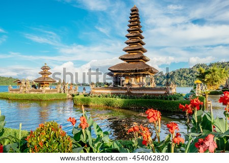 Pura Ulun Danu Bratan temple in Bali island. Hindu temple in flowers on Beratan lake, Asia. Major water temple Bali island, Indonesia. Hindu water temple - culture symbol of Indonesia, Asia landscape #454062820