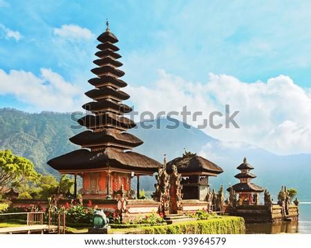 Pura Ulun Danu temple on a lake Beratan. Bali