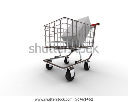 Purchase in the shopping cart isolated on white background. High quality 3d render.