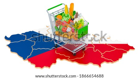 Purchasing power in Czech Republic concept. Shopping cart with Czech Republic map, 3D rendering isolated on white background Foto stock ©