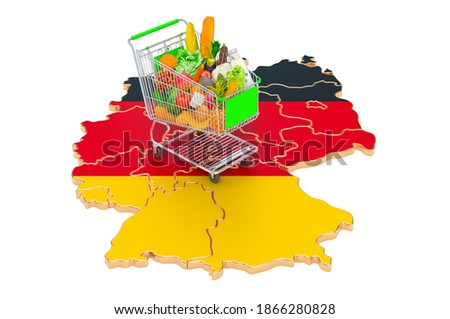 Purchasing power in Germany concept. Shopping cart with German map, 3D rendering isolated on white background Foto stock ©