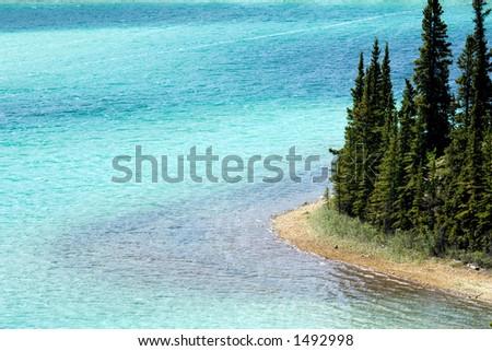 Pure emerald water of Emerald lake, Yukon