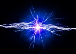 Pure energy and electricity with blue bolts power background