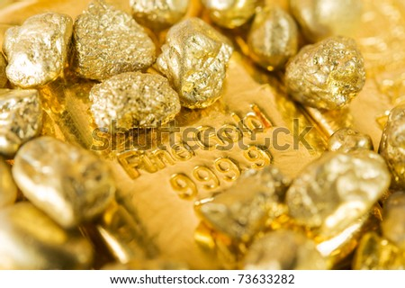 pure gold ingots and nuggets.