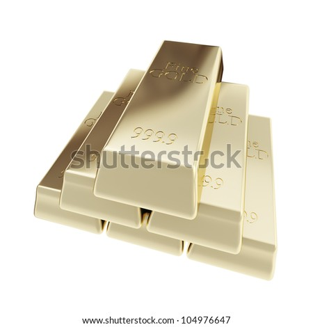 Pure golden bar gold pyramid stack isolated on white