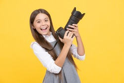 pure happiness. hobby or career. photographer beginner with modern camera. making video. childhood. teen girl taking photo. kid use digital camera. happy child photographing. school of photography.