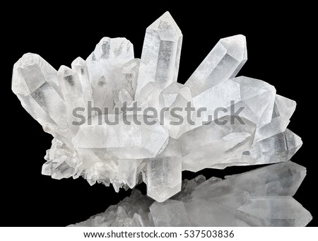 Pure Quartz Crystal cluster on black background