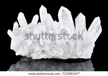 Pure Quartz Crystal cluster on black background #723081697