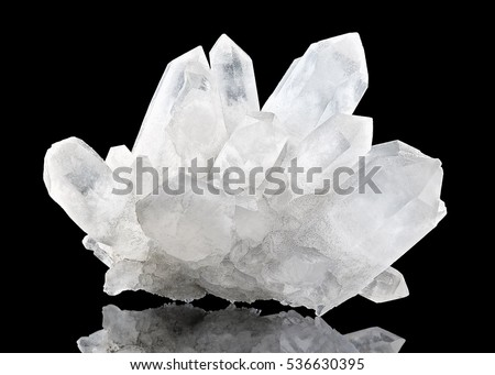 Pure Quartz Crystal on black background