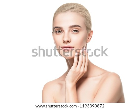 Pure skin healthy and beauty blonde hair woman with clean skin face and natural makeup isolated on white