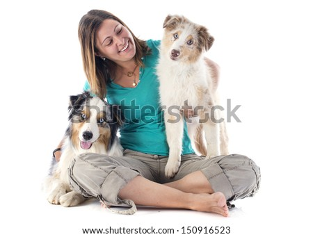 purebred australian shepherds and woman  in front of white background