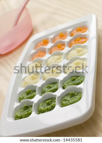 Pureed Baby Food in a Ice Cube Tray