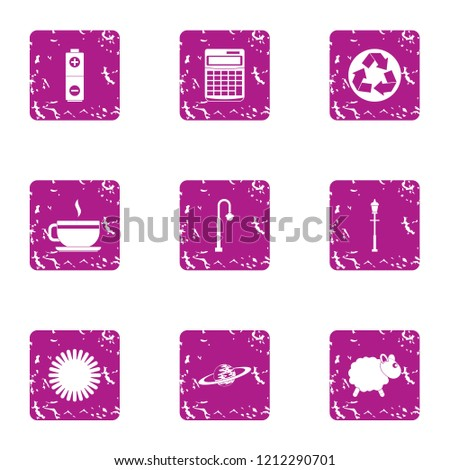 Purification of the atmosphere icons set. Grunge set of 9 purification of the atmosphere icons for web isolated on white background
