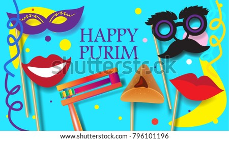 Purim Festival celebration concept poster. Jewish Holiday festive abstract design banner with traditional symbols noisemaker grogger, ratchet, hamantaschen cookies, masque, gifts, star david, top view