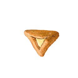 Purim holiday concept.One isolated Hamantash with vanilla cream,halva or white chocolate on white background. Hamantaschen triangular pastries also called Haman's pockets or Oznei Haman-Haman's ears.