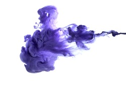 Purple acrylic paint in water. Studio photography on a white background.