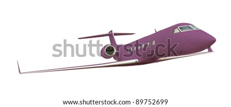 Purple airplane isolated on white with clipping path