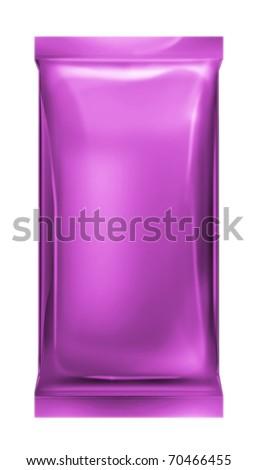 purple aluminum foil bag isolated on white background