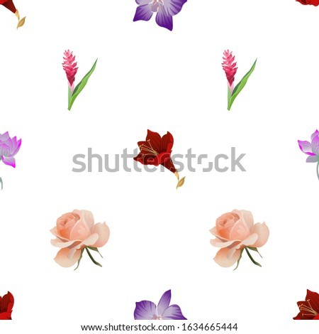 Purple Amaryllis. Purple orchid. Purple Lotus. Red and Pink Ginger. Pink Rose. Illustration. Seamless background pattern. Floral botanical flower. Wild leaf wildflower isolated. Exotic tropical.