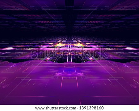 Purple and blue technology background with perspective effect. Abstract computer-generated 3d illustration. Digital art: glossy surface with grid. Science fiction or virtual reality concept.