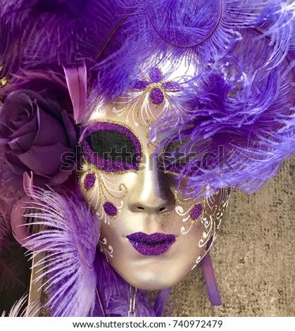 Purple and Gold Venetian Carnival Masquerade Mask  #740972479