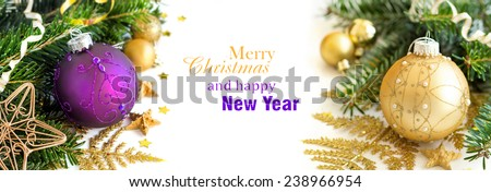 Purple and golden Christmas ornaments border on white background