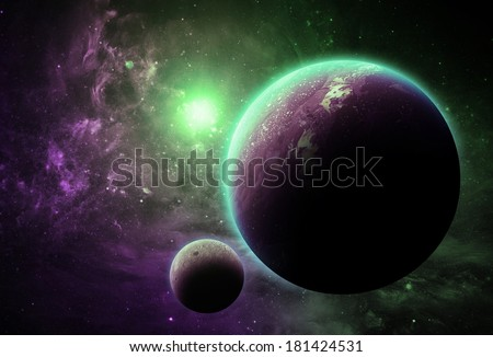 Purple and Green Planet - Elements of This Image Furnished By NASA