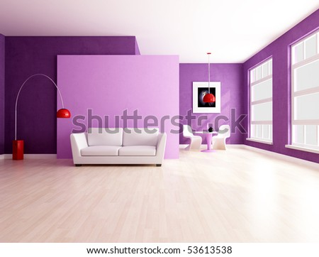 purple and lilla living room with dining space - rendering
