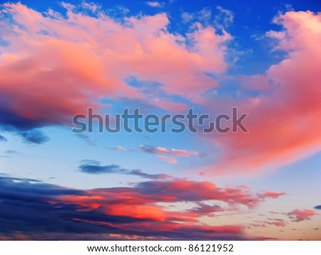 Purple and pink clouds in the sky at sunset