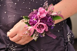 Purple and Pink Flowers (Roses) on Wrist Corsage for Prom