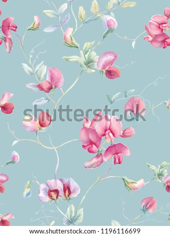 Purple and pink watercolor butterfly orchid flower and green watercolor small leaves watercolor interlocking branches