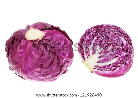 Purple and red cabbage in the cut. On a white background.