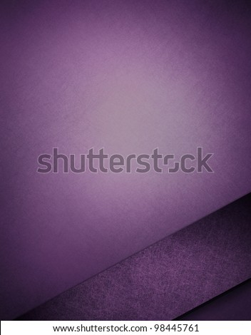 purple and white background with spotlight in center and vintage grunge texture and dark purple ribbon stripe angle on frame border for artistic layout design with copy space