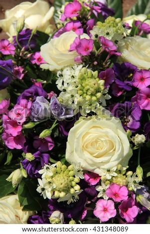 Purple and white wedding flower arrangement ez canvas purple and white wedding flower arrangement mightylinksfo