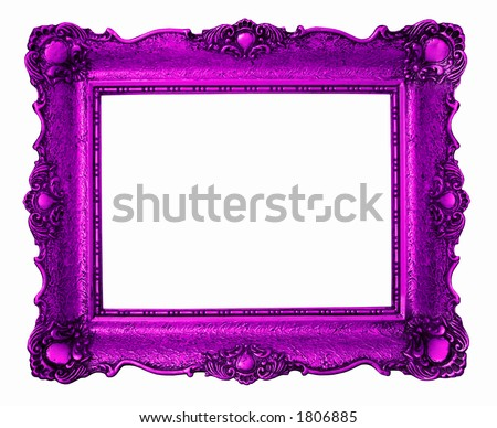 Purple antique painting frame isolated on white background