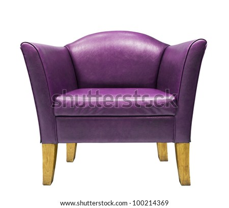 Purple  armchair isolated on white background