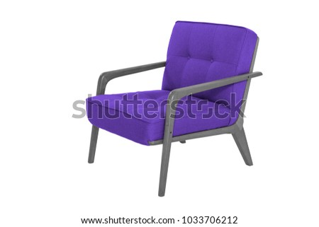 Purple Armchair. Modern Designer Chair On White Background. Texture Chair.