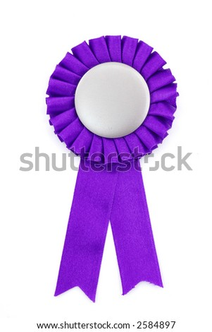 purple award ribbons badge with white background