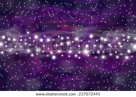 Purple background composed of unfocused colored objects, smoke and lights. Strip of a shining stars is in the middle of the picture.