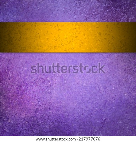 purple background with gold ribbon stripe, vintage grunge background textured purple painted wall