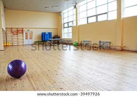 Purple ball in empty gym laying on wooden floor
