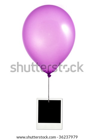 Purple balloon and photo frame on white background