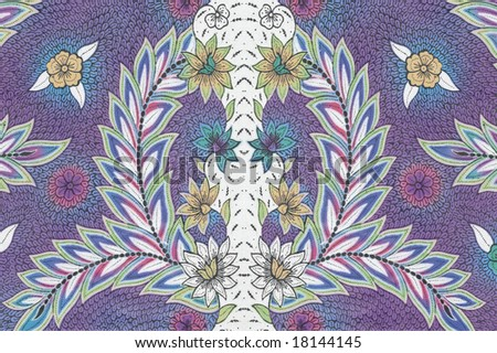 stock photo : Purple Batik sarong with symmetrical patterns and white leaves