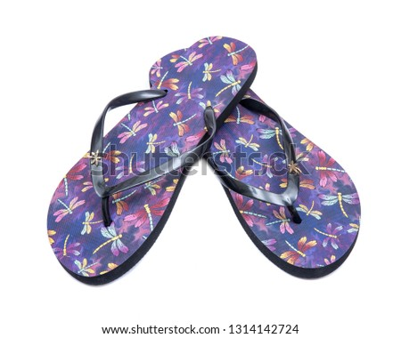 d06ecea5f693 Purple Beach Day Flip Flops with dragonfly pattern isolated on white  background.  1314142724