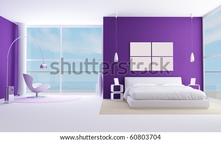 purple bedroom of a modern beach villa - rendering - the image on background is a my photo