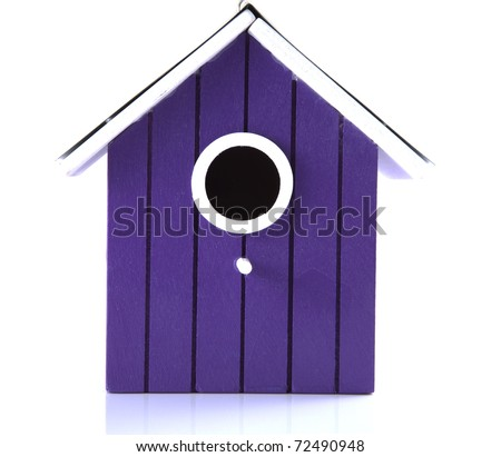 Purple bird house on a white background.