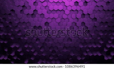Purple black metallic background with hexagons. 3d illustration, 3d rendering.